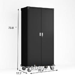Tall Metal Rolling Storage Cabinet Cupboard 4 Adjustable Shelf&Lock Garage Tool