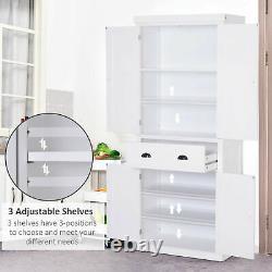 Tall Wooden Kitchen Pantry Storage Cabinet Cupboard Organizer Furniture White