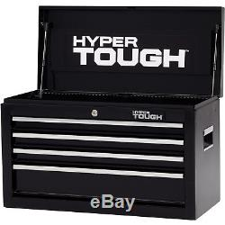Tool Chest 4-Drawer w Smooth Ball-Bearing Slides 26W Gas struts Lid Support Key