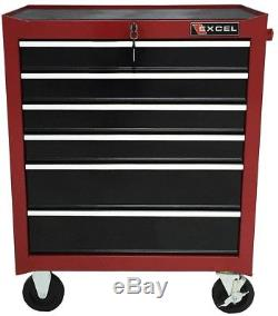 Tool Chest 6 Drawer Roller Storage Cabinet Red 26 in. Wide Ball Bearing Slides
