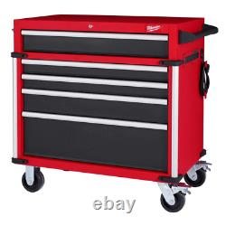 Tool Chest Cabinet 36 in. 12-Drawer Ball Bearing Slides Lid Gas Struts Steel Red