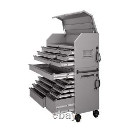 Tool Chest Cabinet Set Heavy-Duty 56 in. W 18-Drawer Rolling Combination Gray