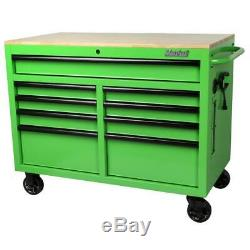 Tool Chest Mobile Workbench 46 in. W x 24.5 in. D 9-Drawer Solid Wood Top Green