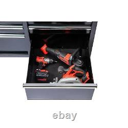 Tool Chest Mobile Workbench Hardwood 9-Drawer Garage Storage Box Mechanic Black