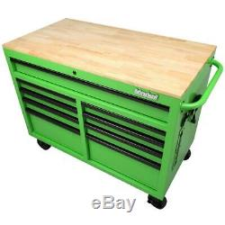 Tool Chest Mobile Workbench46 in. W x 24.5 in. D 9-Drawer with Solid Wood Top