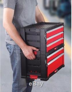 Tool Chest System Storage 22 5-Drawer Ball Bearing Slides Wheels Plastic