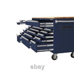 Tool Chest Work Bench Cabinet 72 in. Rolling Garage Storage Organizer 18-Drawer