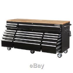 Tool Chest Work Bench Cabinet Adjustable Wood Top 72 in Rolling Garage Storage