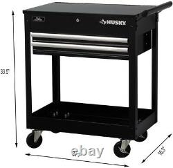 Tool Utility Cart Storage with 2-Drawers, Swivel Casters and Push Handle, Black