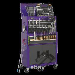 Toolbox Rollcab 6 Drawer with Ball Bearing Slides PURPLE 128pce TOOLKIT