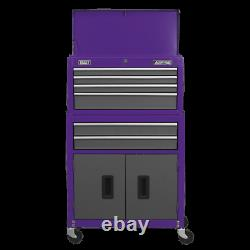 Topchest & Rollcab Combination 6 Drawer with Ball Bearing Slides Purple/Grey
