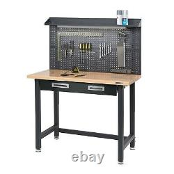 UHD Lighted Workbench with Power Strip & Pegboard, 48L x 24W x 37.5H