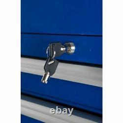 Westward 32H866 15-1/2W Side Cabinet 7 Drawers, Blue, 18-1/8D X 33-13/16H
