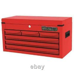 Westward 48Rj70 25-15/16W Top Chest 6 Drawers, Red, 12-1/16D X 13H