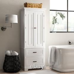 White Storage Cabinet Pantry Armoire Linen Closet 2 Door 2 Drawer Bathroom Wood