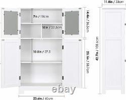 White Wooden Linen Bathroom Floor Storage Cabinet with Doors/Adjustable Shelf