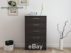 Wood Dresser 5 Drawer Chest Storage Bedroom Office Furniture ball bearing slides